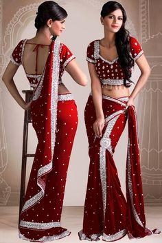 Red Lehenga Saree