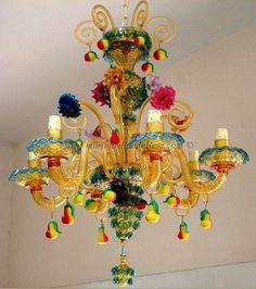 Murano chandelier, lampadario Murano, lustre Murano, lamparas Murano, Goldoni 6 #LuceItalia