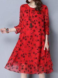 Women Vintage Fake Two Piece Print Loose Dresses