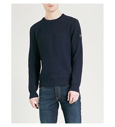 Canada Goose Pemberton Wool Sweater In Navy Black And Navy, Wool Sweaters, Canada Goose, Merino Wool, Knitwear, Crew Neck, Turtle Neck, Pullover, Mens Fashion