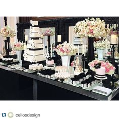 CHANEL inspired dessert station from last weekend's gorgeous wedding #cakestandrentals #Repost @celiosdesign with @repostapp. ・・・ So in love with our desert station for @xoxo_teresa wedding . Design from @celiosdesign and @allureeventsatelier with @revelryeventdesign . #dessertstations #weddingcakes #luxuryweddings