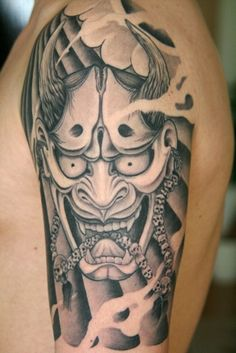 Japanese tattoo meanings are key to understanding Irezumi - Japanese tattoo art. This post tells the meaning of common Japanese tattoos and a their history. Oni Tattoo, Hannya Maske Tattoo, Hanya Tattoo, Samurai Tattoo, Japanese Demon Tattoo, Japanese Sleeve Tattoos, Japan Tattoo, Tattoo Designs And Meanings, Tattoos With Meaning