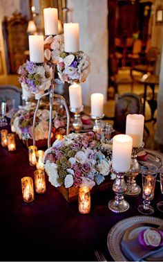 Candles as a centerpiece Centerpieces, Table Decorations, Candels, Candlesticks, Tablescapes, Light Up, Table Settings, Wedding Ideas, Tabletop