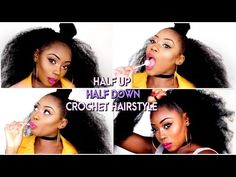 HOW TO- HALF UP HALF DOWN CROCHET METHOD| £4/40 MIN| NATURAL PROTECTIVE STYLE | LIZZIE LOVES - YouTube