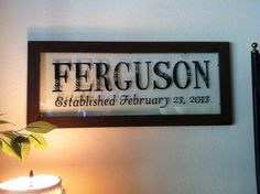Personalized Frame.  Last name and wedding date.