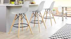 Eames Style Bar Stool in mustard yellow from Danetti.