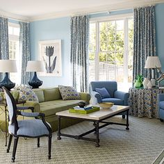 """""""Depending on the time of day, the colors appear brighter and full of energy in full sun, yet calm and relaxing at dusk,"""" says designer Gideon Mendelson of this living room.   coastalliving.com"""