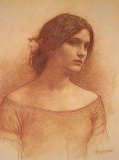 John William Waterhouse Study for 'The Lady Clare' Red chalk on paper 36.8 x 48.3 cm She clad herself in a russen gown, She was no longer Lady Clare: She went by dale, and she went by down, With a single rose in her hair. Lady Clare - Alfred, Lord Tennyson I am practicing master copies of every romantic Waterhouse drawing that I can find; Lady Clare has been a favorite. note: Waterhouse was known by his family and friends as Nino.