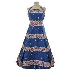 Blue and pink rose print Marchington cotton rockabilly 1950s halterneck dress and bolero £125