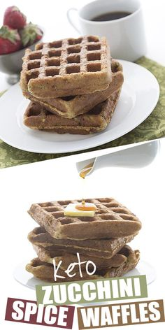 Awesome Zucchini Spice Waffles Something a little different for your keto breakfast. How about some delicious low carb zucchini spice waffles? A great grain-free and sugar-free way . Low Carb Waffles, Low Carb Bread, Keto Bread, Low Carb Breakfast, Breakfast Recipes, Bread Alternatives, Keto Waffle, High Protein Low Carb, Ketogenic Diet Plan