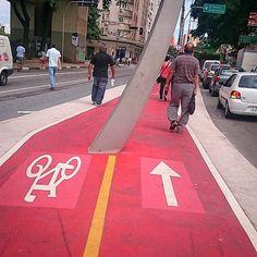Ciclofaixa na calçada