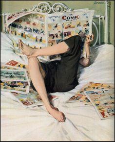 """When I read Comic"" Illustration de l'artiste américain John Gannam Retro Kunst, Retro Art, Vintage Comics, Vintage Art, Vintage Ladies, Illustrations, Illustration Art, Vintage Housewife, Poses References"