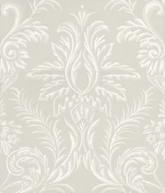 Ardwell (NCW4124-05) - Nina Campbell Wallpapers - A damask resembling plasterwork in contrasting grounds. Shown here in French grey/white - more colours are available. Please request a sample for true colour match.