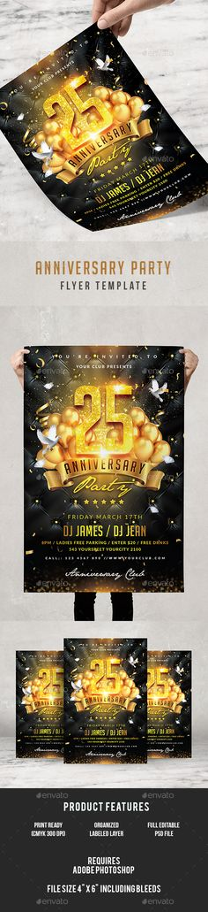 Anniversary #Party #Flyer - Clubs & Parties #Events Download here: https://graphicriver.net/item/anniversary-party-flyer/19510560?ref=alena994
