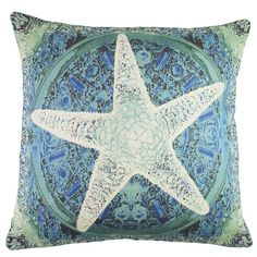 Add nautical charm to your living room sofa, arm chair, or chaise with this lovely pillow, featuring a starfish and blue hue.   Prod...
