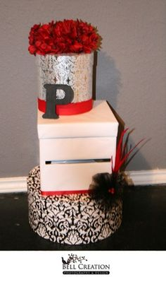 Party decor card box on pinterest card boxes wedding for How to decorate a money box