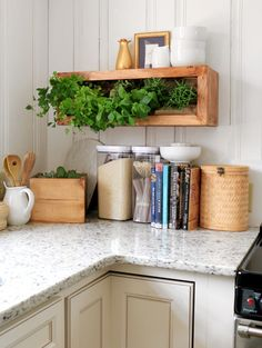 DIY Wall Planter and Floating Shelf! Looks great, and keeps fresh herbs right at your fingertips. Free tutorial at Ryobi Nation.