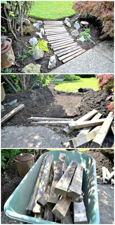 DIY Pallet Wood Garden Walkway - DIY Garden Projects - 101 DIY Ideas to Upgrade Your Garden - DIY & Crafts