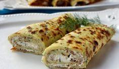 Palačinke od tikvica sa krem sirom - Recept | BonApeti.rs Fresh Rolls, Zucchini, Ethnic Recipes, Food, Meal, Essen, Hoods, Meals, Eten