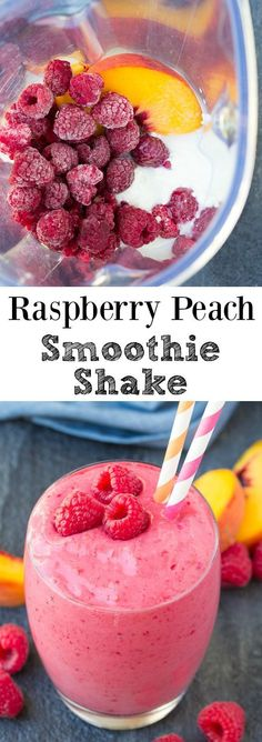 This Raspberry Peach Smoothie Shake is full of fresh raspberry flavor! With just a few ingredients, this vibrant smoothie is quick and easy to make! | www.kristineskitc... #ad Moussaka, Few Ingredients, Healthy Smoothies, Peach, Raspberry, Cereal, Fresh, Eat Clean Smoothies, Raspberries