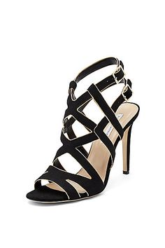 Valene Glitter Strappy Heel in in Black