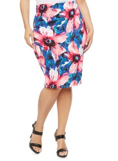 Rainbow Plus Size Floral Print Midi Skirt Rainbow Shop, Denim Button Down, Plus Size Skirts, Cute Skirts, Stretch Fabric, Tie Dye Skirt, Plus Size Fashion, Midi Skirt, Curves