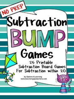 Subtraction Bump Games - NO PREP math games for subtraction