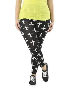 Wet Seal Women's Cross Print Plus Size Legging 2X Black/white Crosses