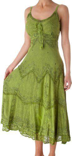 Stonewashed Rayon Embroidered Adjustable Spaghetti Straps Long Dress