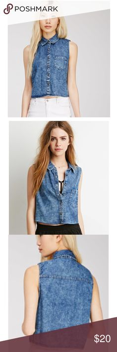 Forever 21 Denim Pocket Shirt Condition- like new! No flaws! Button up shirt, sleeveless. Size- M. Forever 21 Tops Button Down Shirts
