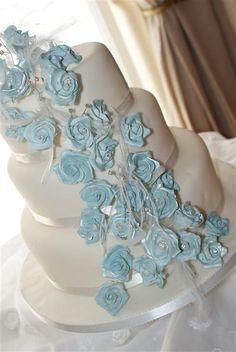 White and Ice Blue Wedding Cake