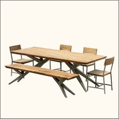 Geometric Solid Acacia Wood & Iron #diningtable.  Made of #Acacia Wood & Iron.  Sale Price: $4,299  http://www.sierralivingconcepts.com