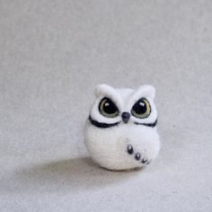 needle felted OWL by The Lady Moth miniature owl white owl