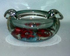 St Clair Glass Paperweight Ashtray Clear With Blue by annimae182, $24.95