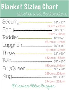 Blanket sizing in inches and centimeters - chart to help guide you in sizing your blanket! Knit, crochet, etc