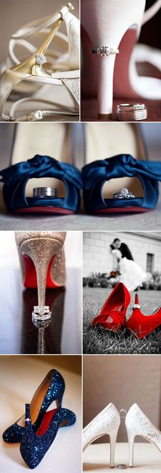 unique wedding photo ideas for shoes with wedding rings