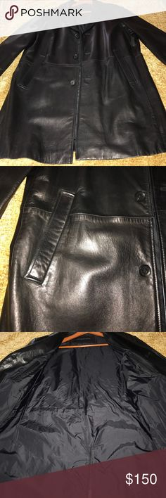 Andrew Marc  black leather coat Three quarter butter soft leather coat. No wear looks brand new  only used for wedding and. Another party  we don't like 3 quarter look  on my husband. So we are selling.  All buttons there and two inside zip pockets. Pleat in back.   Beautiful coat   Neck line is clean there is no wear at all so don't miss out !!!!  No low balls Andrew Marc Jackets & Coats
