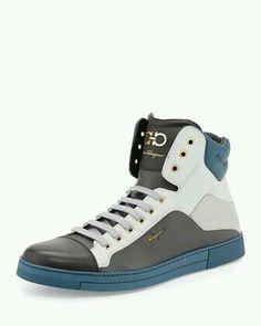 Stephen 2 Men\'s Leather High-Top Sneaker, Multi by Salvatore Ferragamo at  Neiman Marcus.