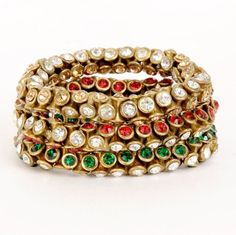 Monisha Daga Rangoli Kundan Red Bracelet Set BT5-MC for Women