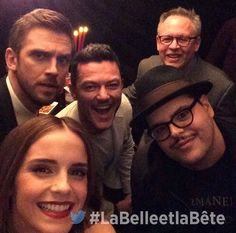 Emma Watson, Dan Stevens, Luke Evans, and Josh Gad with the director in Paris for the Beauty and the Beast press tour.