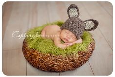 This gorgeous newborn brown and beige bunny hat is made from a super soft wool blend yarn. It is the perfect hat for your newborn baby Easter photography shoot! The beanie is crocheted in the round an