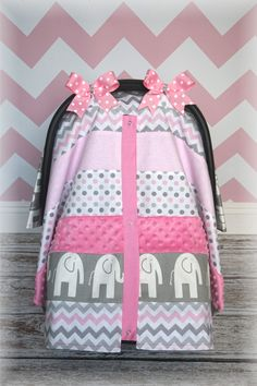 Pink n Grey Patchwork w/Polka Dot Baby Carseat Canopy Baby On The Way, Baby Love, Baby Girl Elephant, Christmas Baby, Baby Sewing, Baby Accessories, Baby Gear, Future Baby, Baby Items