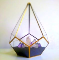 Place this popular GOLD Teardrop terrarium in a sunlit window, on your porch or place on a shelf in your home or on the desk in your office. One large panel is left open for easy access.  I have planted this terrarium with crystals..perfect idea for those with a black thumb:)  I made this terr...