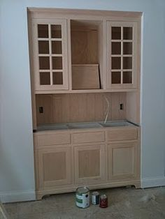 Dining Room - built in cabinets as hutch and wine fridge/storage ...