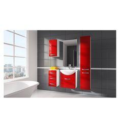 Ensemble de salle de bain KORAL rouge 55cm - Meuble Salle de bain une vasque - Décoration salle de bain