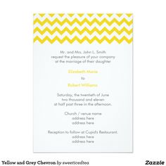 Yellow and Grey Chevron 5x7 Paper Wedding Invitation Card