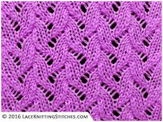 A collection of beautiful knitting stitches featuring lace and eyelets for knitters of all levels, including written instructions and chart patterrn.