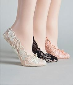 Love that they are cushioned! super adorable in lace! Look easy to fit in a purse for when heels start to hurt. plus they are $6 ...i'm liking the idea of these