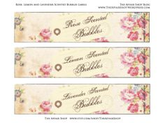 FREE Downloadable Vintage Labels for homemade scented bubbles! Get the recipe and download here!  The Affair Shop Blog www.theaffairshop.wordpress.com