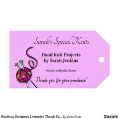 Shop Knitting Business Lavender Thank You Customer Tags created by pamdicar. Knitting Help, Hand Knitting, Knitting Patterns, Crochet Patterns, Online Yarn Store, Custom Ribbon, Old Newspaper, Personalized Gift Tags, Sock Yarn